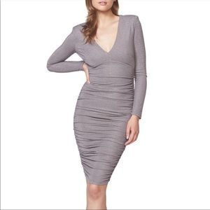 BARDOT Lorena Metallic Ruched Bodycon Dress GRAY